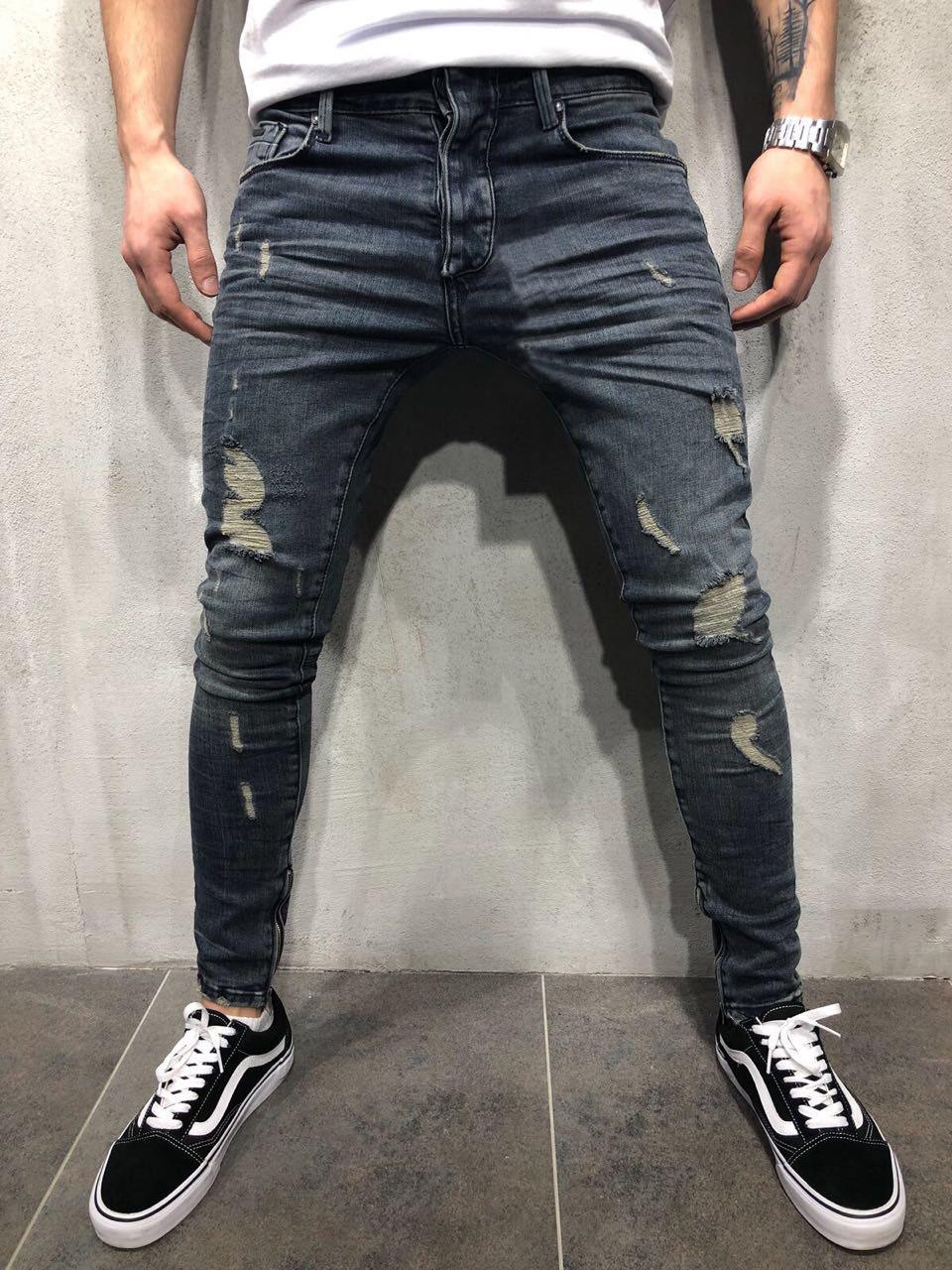 Moda Uomo Orologi da matita jeans skinny strappato Destroyed stirata dei pantaloni slim fit Streetwear Con Fori