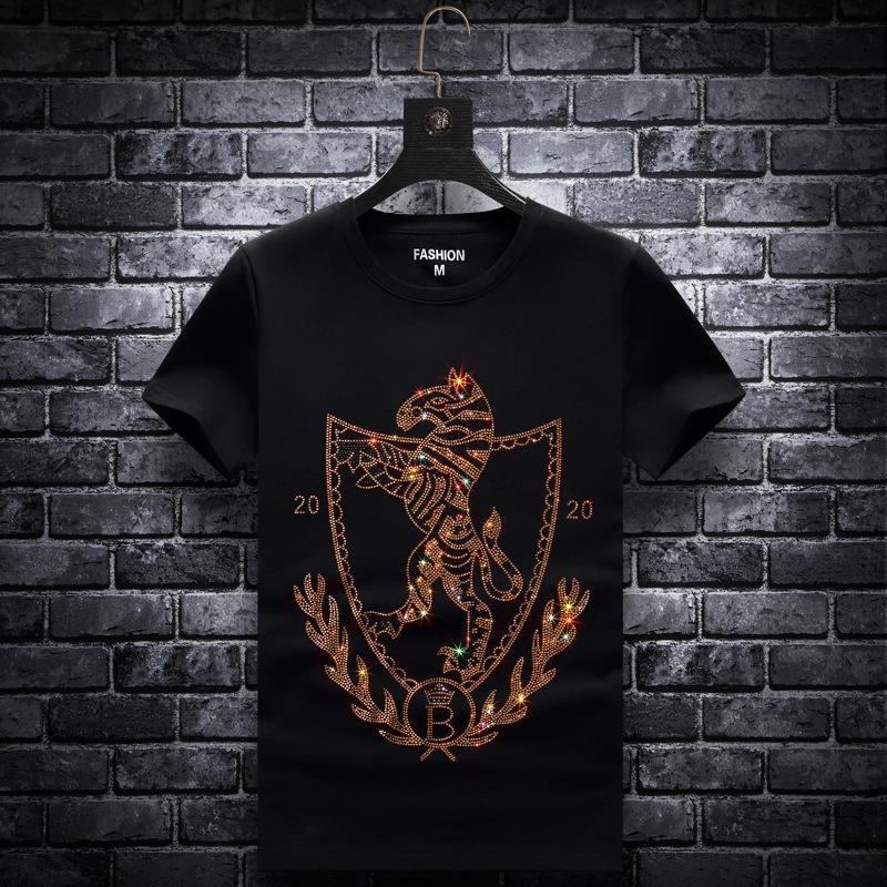 أحدث قمصان الحيوان الذهب كريستال تي شيرت الجدة رسالة ولي الملابس الطراز الأوروبي قميص رجل فضفاض XL قميص
