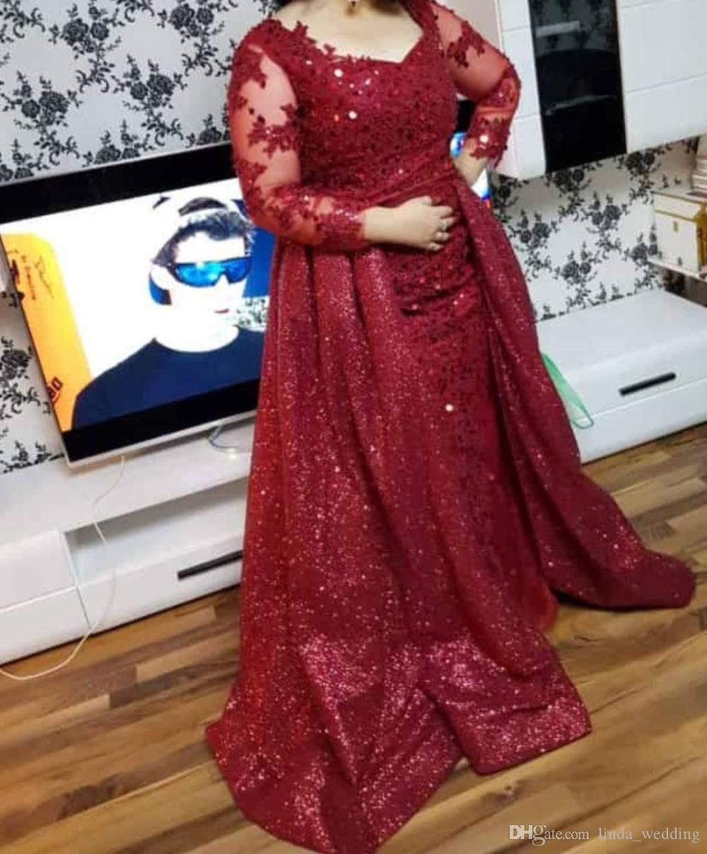 أنيق أحمر طويل الأكمام والدة العروس من فساتين الترتر الرسمي العريس حفل زفاف الضيوف ثوب زائد حجم مخصص