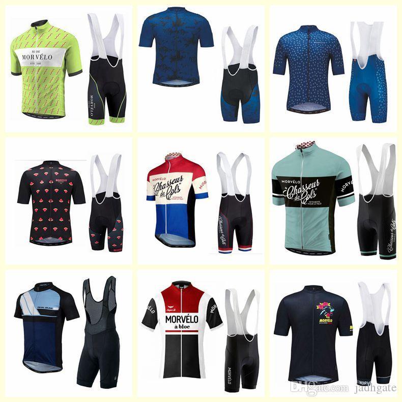 Pantaloncini bicchierini in jersey da ciclismo manica corta Morvelo set Nuovi abiti da ciclismo Ropa Ciclismo Quick-Dry uomo Corse U71215