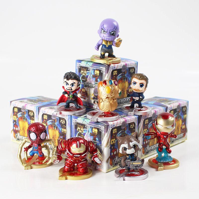 8шт / комплект Мстители фигурку Бесконечность войны Танос перчатки Hulkbuster Железный человек Капитан Америка Человек-паук Доктор Стрэндж ПВХ игрушки
