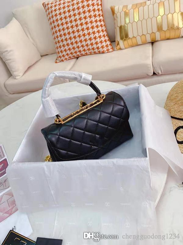 Nouveau cuir véritable sac à main unique Han édition Sac à bandoulière Incliné chaîne Femmes paquet Sacs Ling Plaid Wallet A Designer épaule B