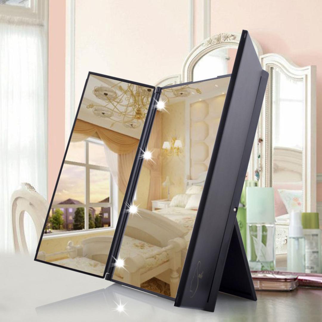 أدى ماكياج الساطع مرآة 8 LED ضوء مضيئة ثلاثة من جانب وجعل طوي حتى مستحضرات التجميل سطح المنضدة الجمال مرآة الغرور