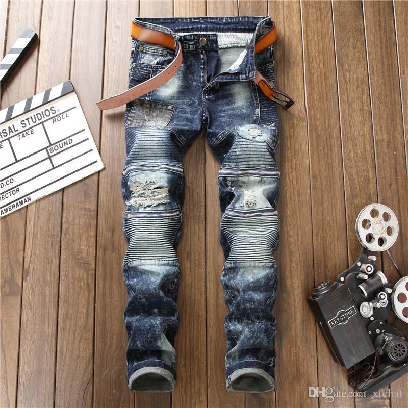Mens Distressed Plissee Zipper Straight Leg Jeans Modedesigner Retro gewaschene Blass Slim Fit Jeans Hosen Freizeit Bekleidung Hosen 8004
