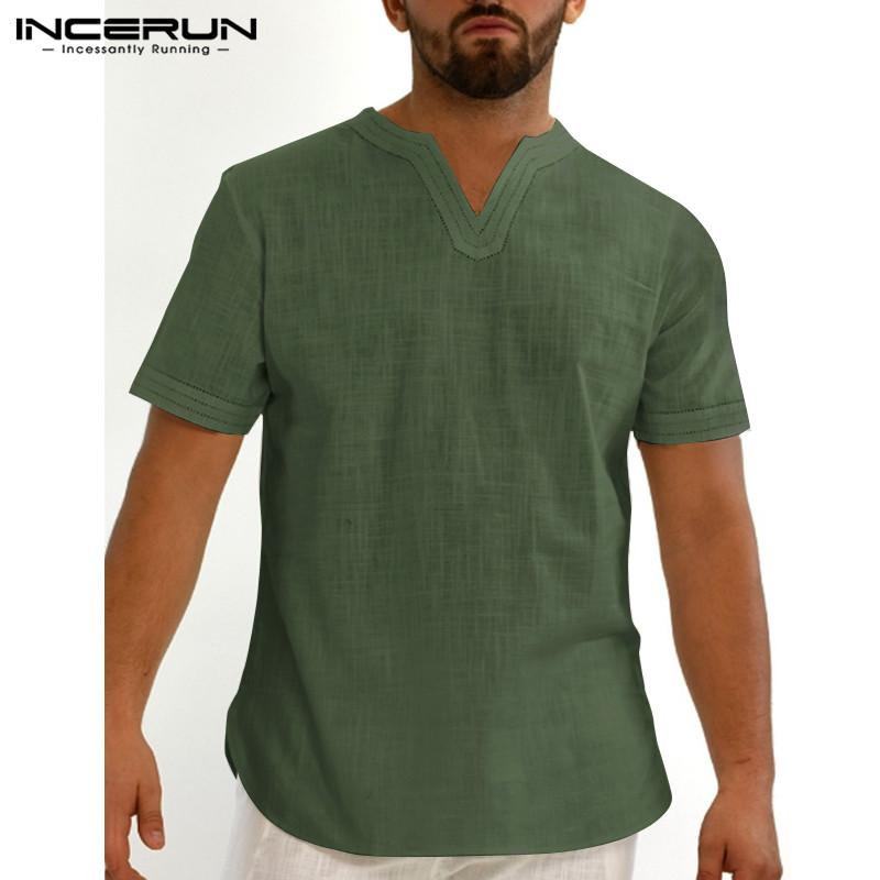 INCERUN Vintage Men Shirt con scollo a V in cotone a maniche corte casuale Streetwear traspirante Camisas solido Estate Colore Retro camice S-5XL