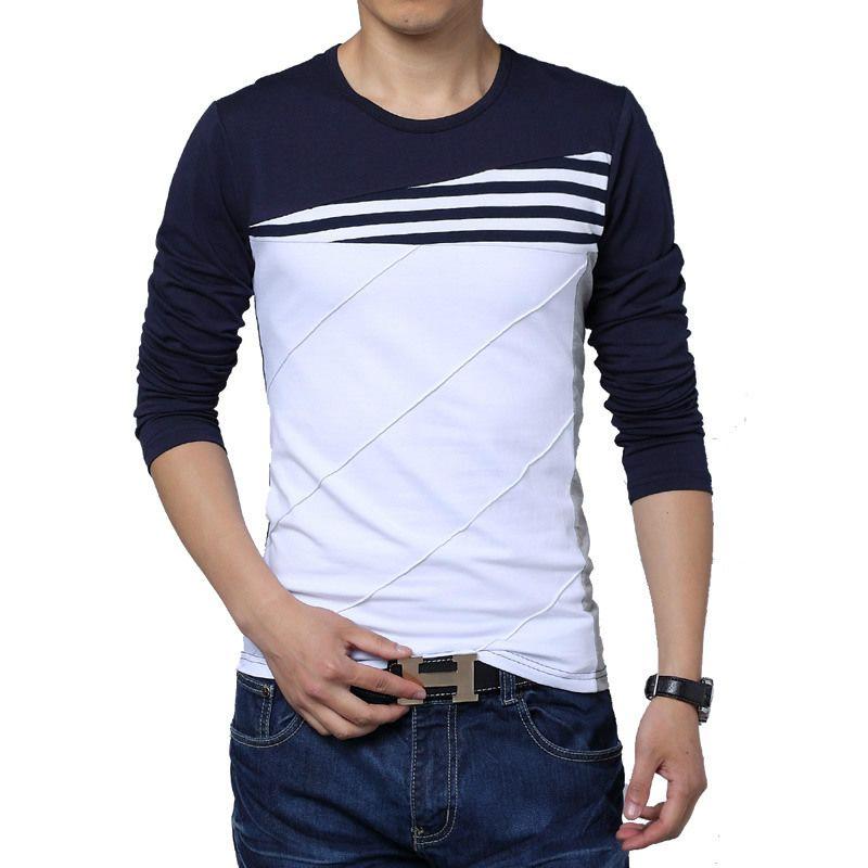 progettista della molla nuovi uomini di maniche lunghe Slim coreana di colore versione incantesimo girocollo maglietta che basa camicia grandi cantieri