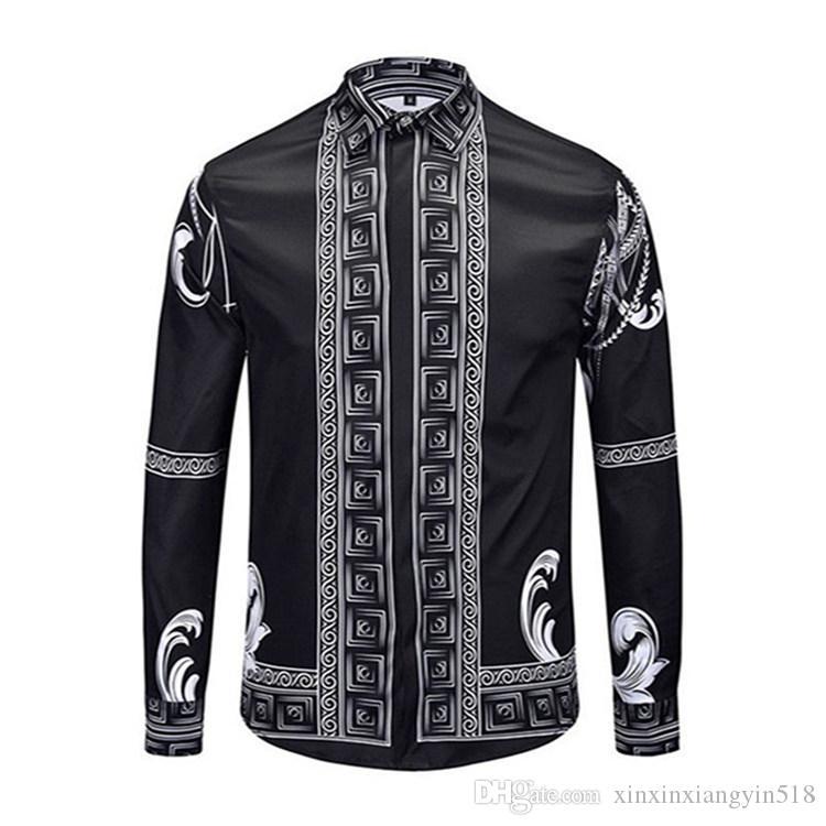 La vendita calda Europa e in America primavera e l'autunno dei nuovi uomini di lusso nero a strisce tendenza della moda di affari della camicia a maniche lunghe M - 2XL