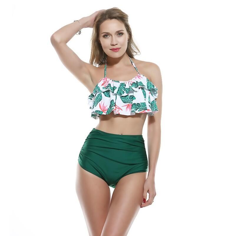 2019 New High Waist Bikini Swimwear Women Swimsuit Push Up Bikinis Women Bathing Suit Halter Biquini Ruffle Bandage Bikini Summer Beach Wear