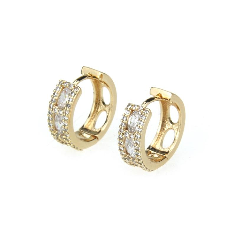 BSWEET Gold copper white cubic zirconia round hollow earrings ladies fashion party beautiful simple jewelry earrings