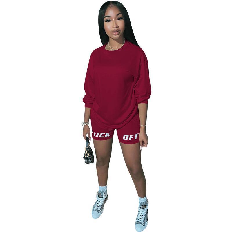 Письмо печатные сексуальные 2 шт набор тренировочные костюмы женщины O-образным вырезом полный рукав футболки и тощие байкерские шорты фестиваль соответствующие наборы