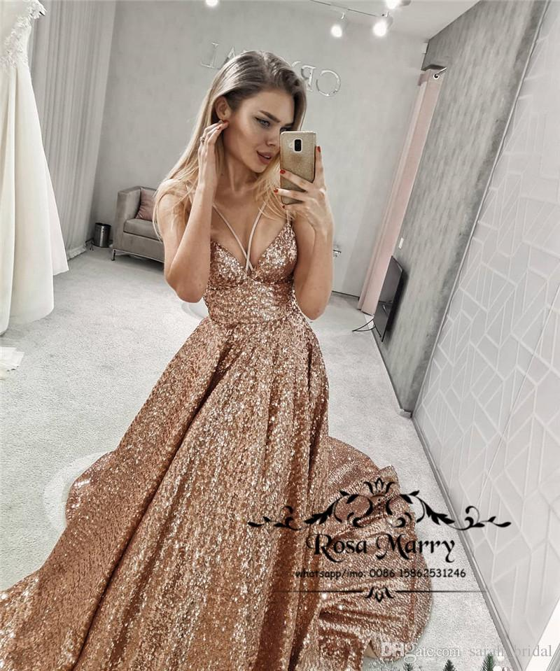 Sparkly Rose Gold Sequined Prom Dresses 2K19 Plus Size Low Back Black Girls  2019 Couple Fashion Formal Evening Birthday Party Gowns Prom Dress Plus ...