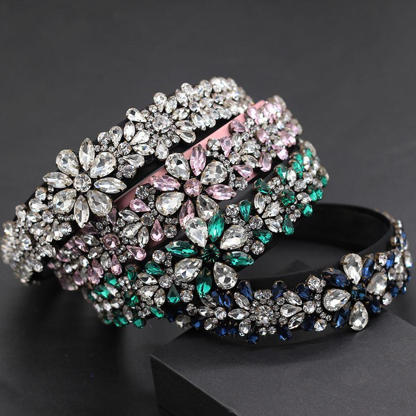 패션 야생 개성 헤드 밴드 새로운 바로크 하트 모양의 입자가 꽃 패션 헤드 밴드 (743)를 모조 다이아몬드 과장