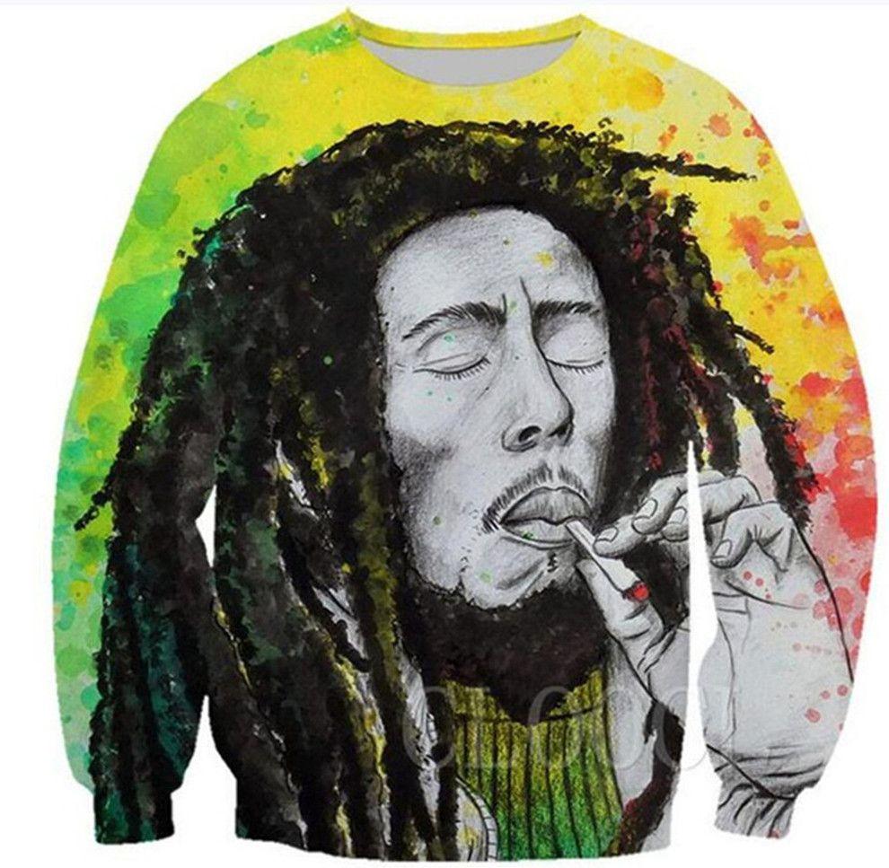 Mode Bob Marley Smoking Impression 3D unisexe Hommes Femmes Casual Sweat Harajuku Streetwear Sweat ras du cou overs B499