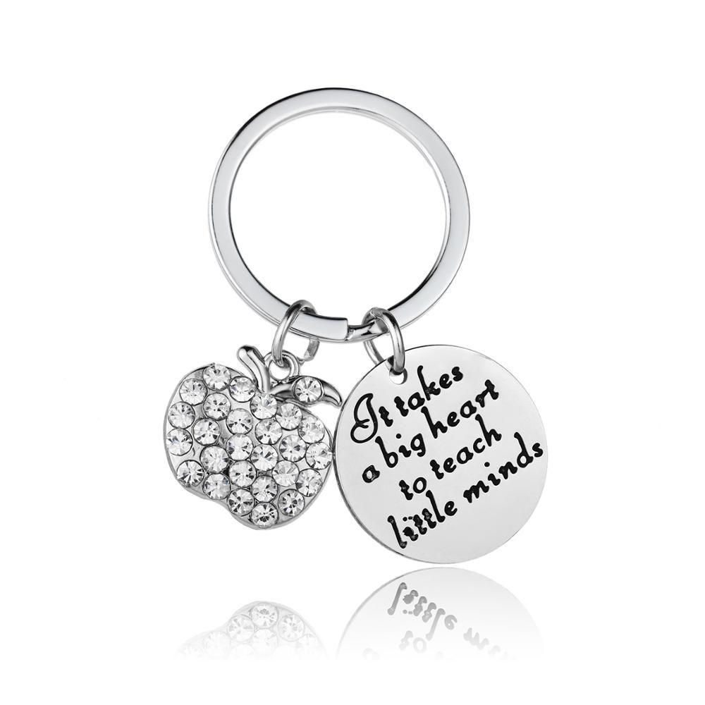 Es nimmt 12PC ein großes Herz Little Minds Schlüsselanhänger Edelstahl Apple-Kristall Strass Schlüsselanhänger Tag des Lehrers Geschenk Hot Teach