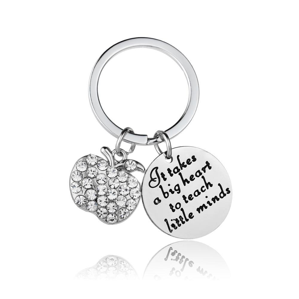 12PC It Takes A Big Heart To Teach Little Minds Keyring Stainless Steel Apple Crystal Rhinestone Keychain Teacher's Day Gift Hot