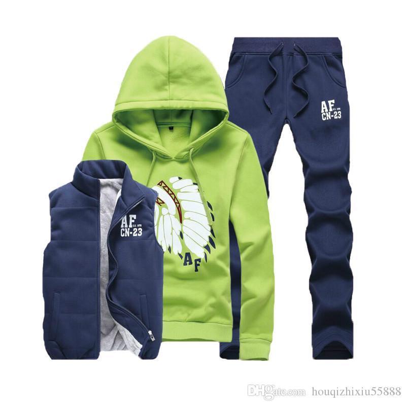 great quality latest design san francisco 2020 Three Piece Polo Sweat Suit Tracksuit Men Winter Thick Fleece ...