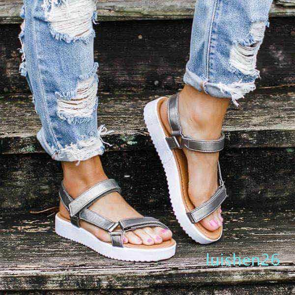 casual confortable Mode d'été des femmes d'impression léopard dame boucle argent Bracelet de plage chaussures noires de 26L