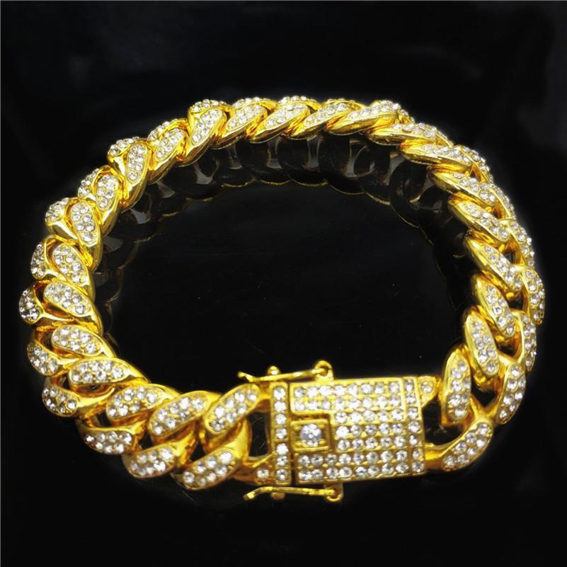 Cuban collegamento Catene Hip-hop gioielli hip-hop 18 carati bracciale a catena Cuba uomini larghi di 12mm diamante pieno