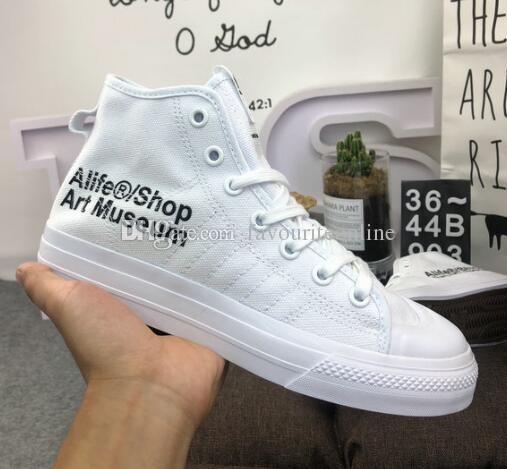 Фирменное наименование мужские и женские холст белый плоский каблук осень зима высокий топ консорциум Nizza привет повседневная обувь размер 36-44