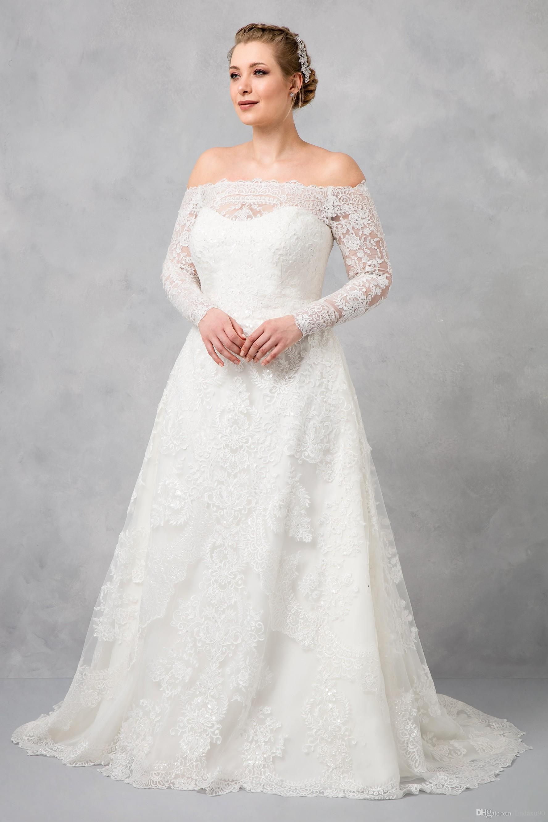 Discount Oleg Cassini Plus Size Wedding Dresses 2019 A Line Lace Appliqued  Sweep Train Country Style Bridal Gowns Long Sleeve Garden Wedding Dress ...