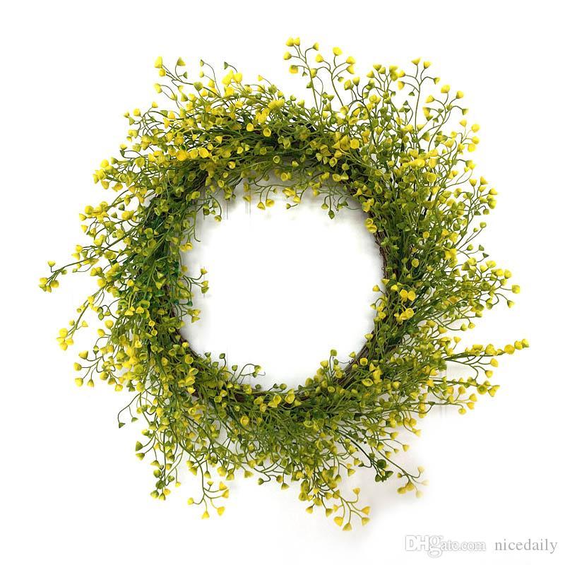 Искусственные Зеленые Листья Венок Поддельные Эвкалиптовый Венок Открытый Зеленый Венок для Входной Двери Стены Окна Партия Декор Поддержка Оптовая