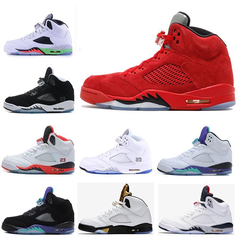 2019 nuovi pattini camoscio rosso 5 di moda di pallacanestro del Mens Blue Suede Shoes Università Red Raging Bull 3M Reflect Sneakers Sport
