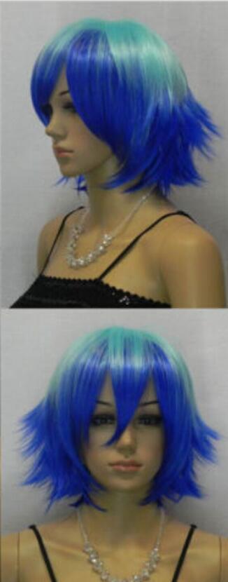 Парик короткие прямые колючие слоистые зеленый синий косплей парик женщины партия