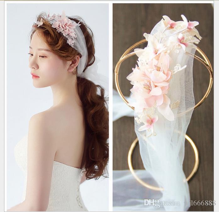 Noiva flor cocar vestido de noiva Handmade cocar de cabelo fita noiva enfeites de cabelo