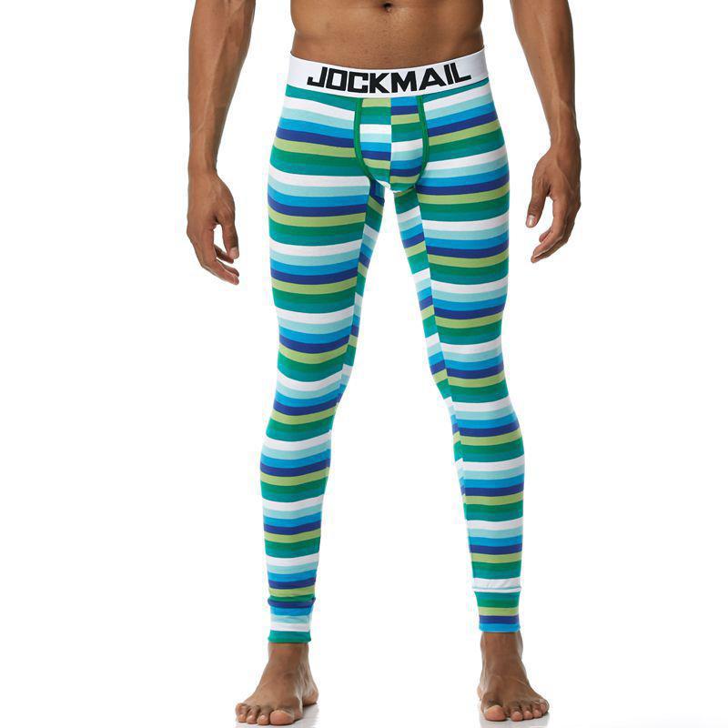 dos homens Long Johns Roupa base térmica da camada de calças de algodão Leggings listrado calças Início Salão Pijamas Pijamas