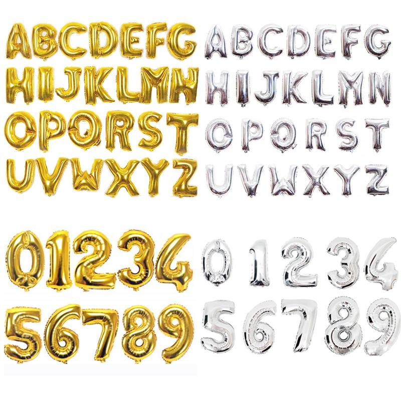 16/32/40 Inch Helium Air Balloon Number Letter Shaped Gold Silver Inflatable Ballons Birthday Wedding Decoration Event Party Supplies