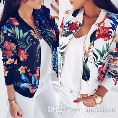 Women Jacket Brand Tops Flower Print Girl Plus Size Casual baseball Sweatshirt Thin Bomber Long Sleeves Coat Jackets
