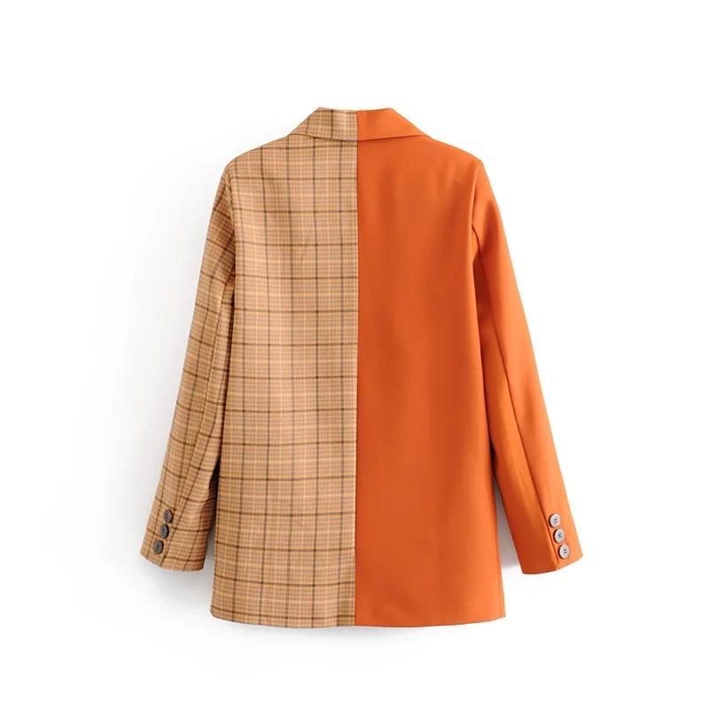 C6899-27278 vestido de las nuevas mujeres del estilo de juego del patrón colores mezclados Conjunto abatible collar traje