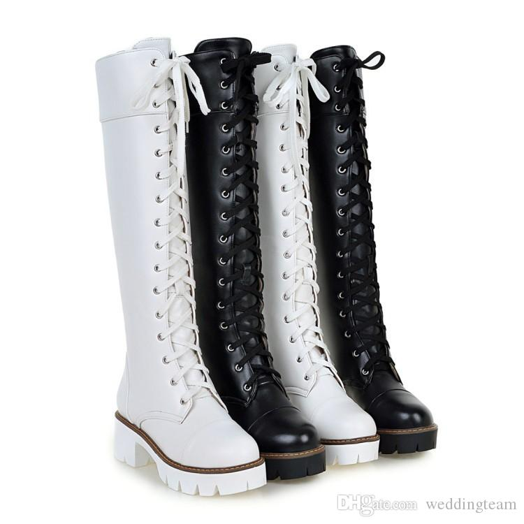 High Quality Designer Women Knee High Boots Fashion Round Toe 5 CM Heels Winter Pump Shoes Two Colors Lace up Lady Motorcycle Boot