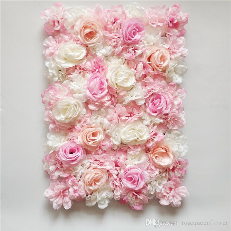 Pared de flores de hortensia rosa romántica de 60x40cm con hoja para la festeja de la fiesta de bodas y decoración de telón de fondo