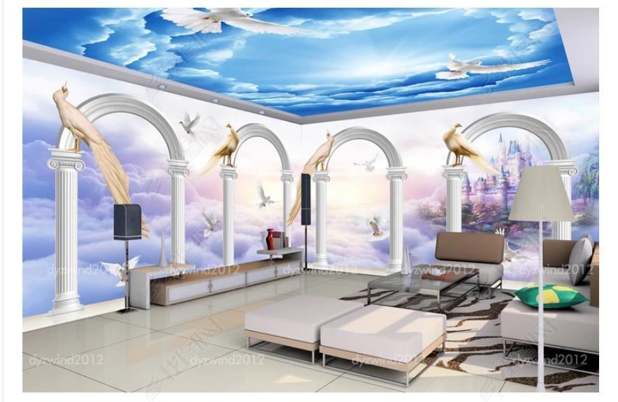 Customized 3D Zenith Photo Ceiling Background Mural 3D fantasy sky bird phoenix theme entertainment venue zenith mural wallpaper