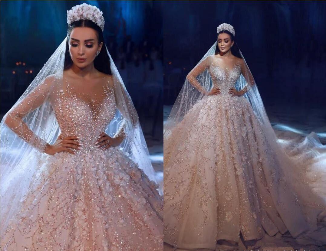 새로운 럭셔리 쉬어 넥 크리스탈 비즈 페르시안 레이스 A 라인 웨딩 드레스 환상 긴 소매 진주 애정 어린 신부 가운 Arabic robe de mariée