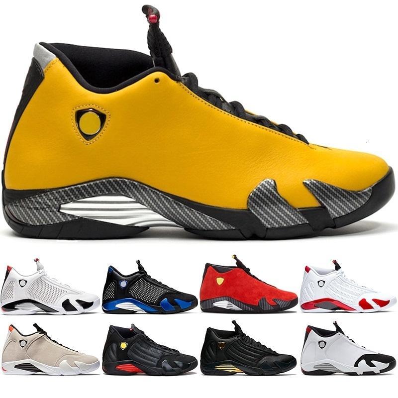 Economici 14 di pallacanestro degli uomini Scarpe 14s Candy Cane Nero Bianco Giallo sabbia del deserto rosso DMP Mens Sneakers Atletico Sport Dimensioni 8-13