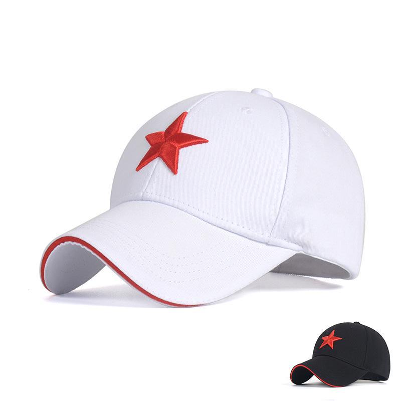 Unisex Bonés de Beisebol de Algodão com Bordado Red Five-pointed Estrela Ajustável 6 Painel Snapback Gorras Repicado Cap Sombrinha Chapéu