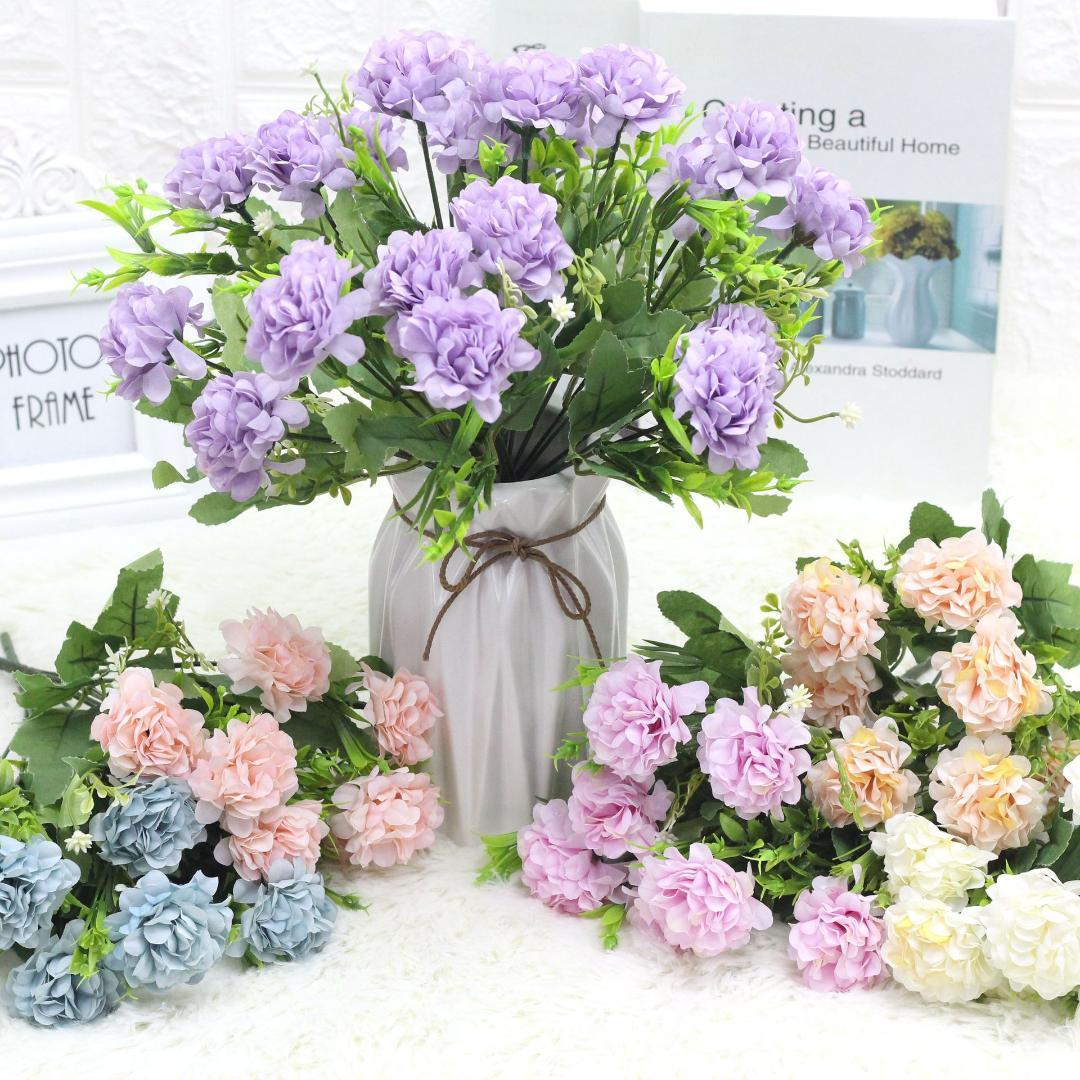 10Pcs 7 Heads Oil Painting Hydrangea Bunch Artificial Flower Wedding Decor Silk Flower Decoration Home Display Photography Props