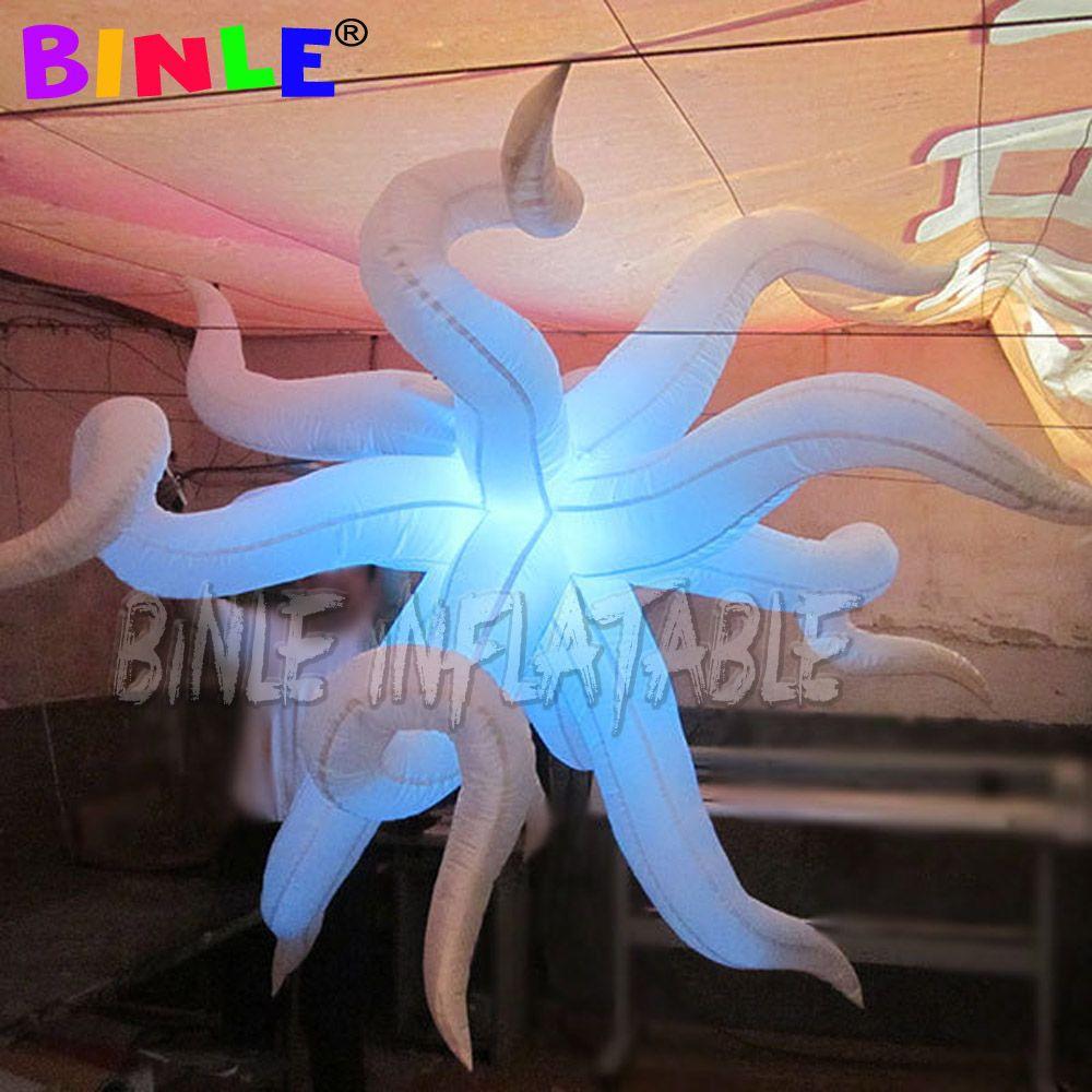 Asın gece kulübünde dekorasyon için 2.5m büyük şişme bükük yıldız renkli değişim şişme led yıldızı aydınlatma kadar