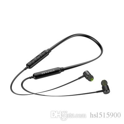 AWEI with dimension G30BL neck hanging neck type magnetic sports Bluetooth headset 4.2 wireless mobile phone in-ear