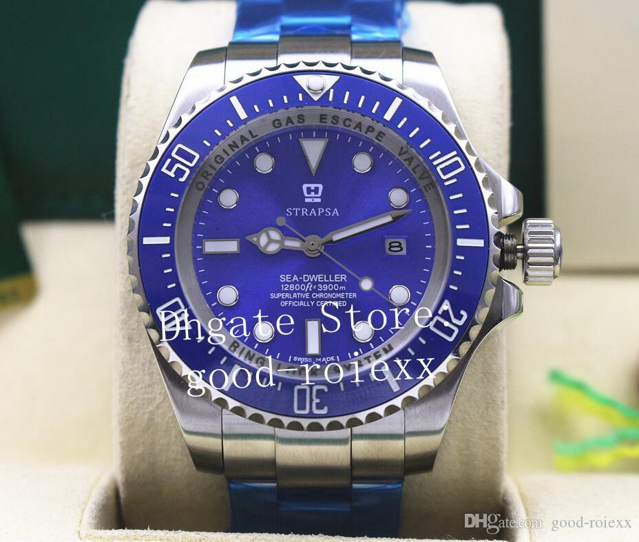 Mens Relógios Mens Automático 2813 Homens Relógio Azul Cerâmica Bezel Dial 116660 Dive Mar Esporte Glidelock Fecho Cronômetro Perpétuo relógios de Pulso