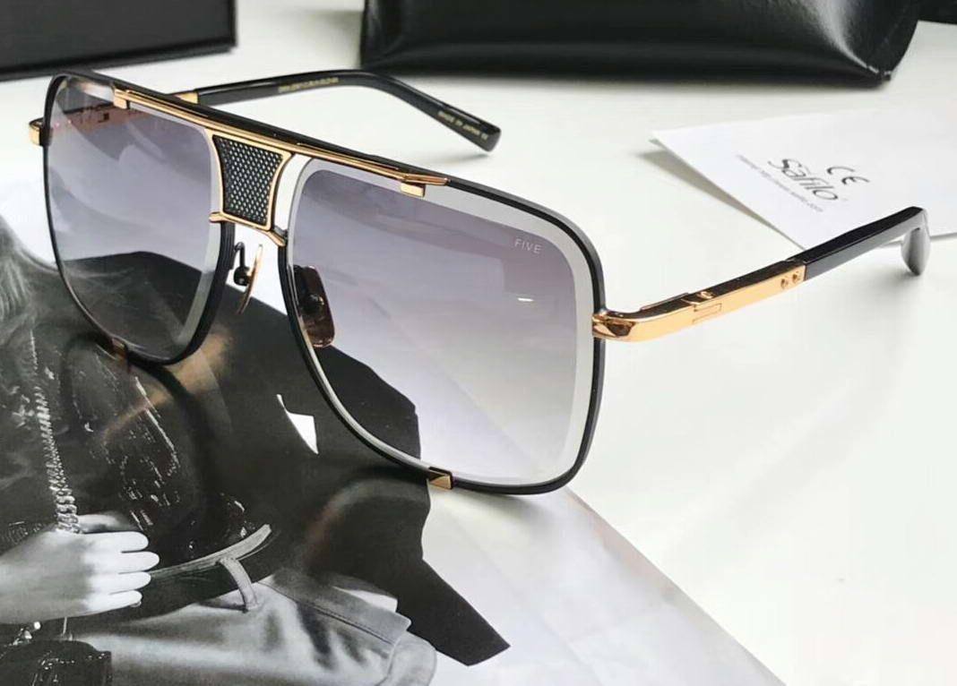 Lentes de sol clásicos del cuadrado de Oro Negro / Gris Degradado 2.087 hombres gafas de sol de las gafas des Gafas de sol con la caja