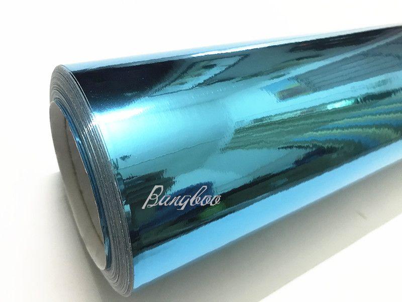 3 Layers Self-adhesive Glossy Mirror Chrome Silver Vinyl Tape Wrap Film Air Free