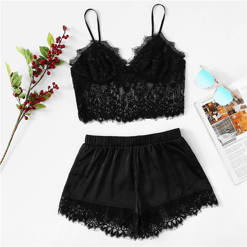 Seksi Stil Dantel Gecelik İç Çamaşırı Kadın Takımı Bayan İç Sling pijamalar İç Seti Lencería Mujer Artı boyutu 628 5.