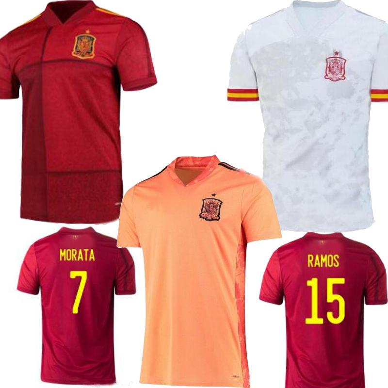 2020 Spain Euro Cup Iniesta Ramos Player 버전 Mens 홈 레드 Asensio ISCO Camisetas 드 Futbol 축구 셔츠 축구 유니폼 2021 S-3XL