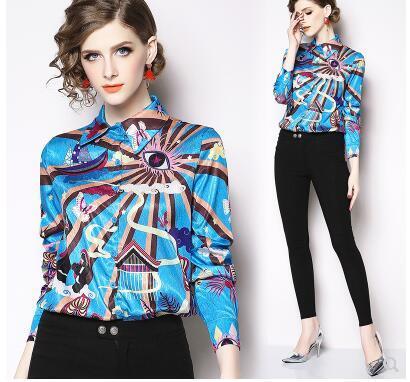 2020 Новый дизайн женщин поворот вниз воротник длинный рукав каракуля печать мило случайные длинный рукав блузка рубашка плюс размер вершины S M L XL XXL