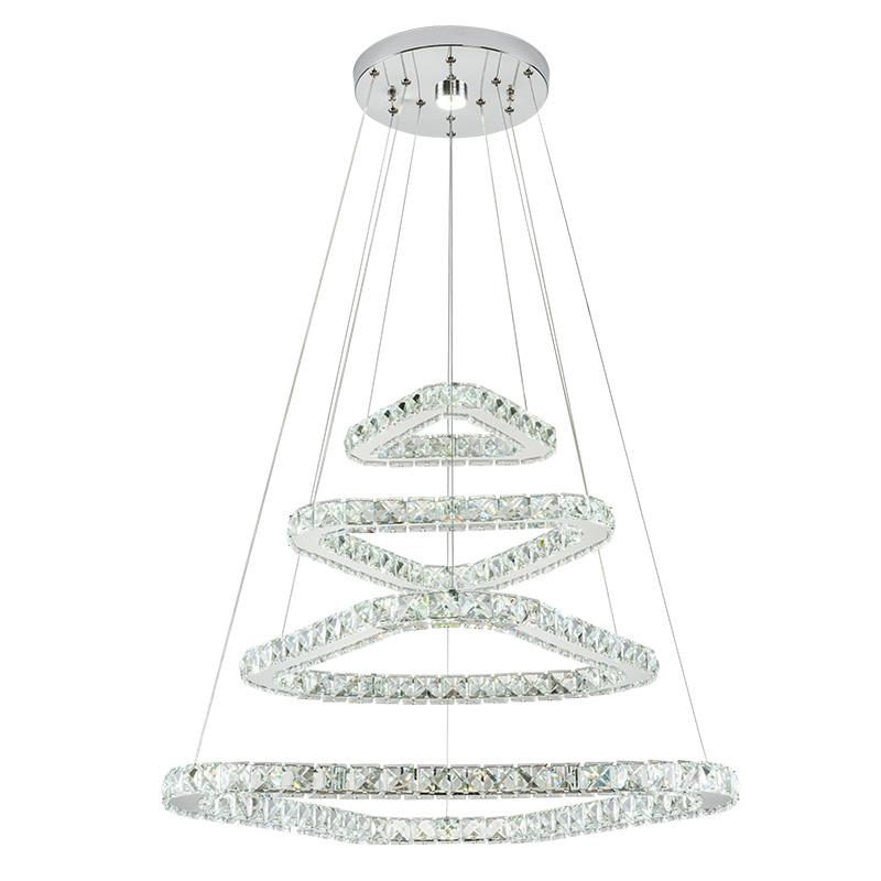 4 tier crystal chandelier Dimmable crystal pendant lighting stainless steel pendant light with crystal for Staircase