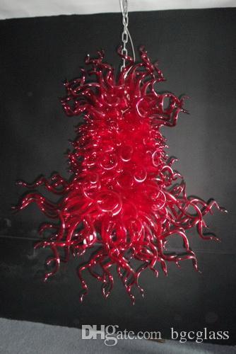 100٪ الأحمر زجاج مورانو الثريا تمت الإضافة للمعيشة ديكور اليد في مهب زجاج LED Blubs الأحمر زجاج مصابيح قلادة للبيع