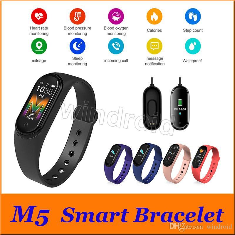 perseguidor del reloj inteligente M5 SmartBand la aptitud del deporte inteligente pulsera de la presión arterial real monitor de ritmo cardíaco Bluetooth impermeable Vs M3 M4
